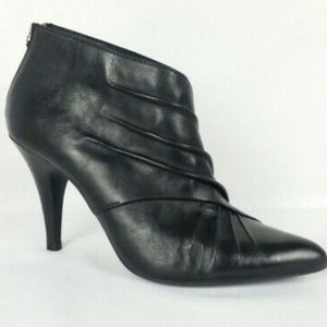 Vintage Aldo Leather Boot Bootie Pleated Zip Up 9